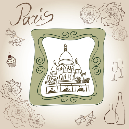 sacred heart: Love paris frame vintage collection  Basilique du Sacré C%u0153ur  Scrapbooking illustration