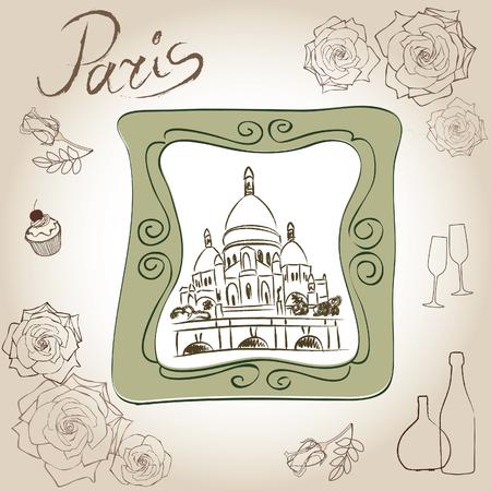 montmartre: Love paris frame vintage collection  Basilique du Sacr� C%u0153ur  Scrapbooking illustration