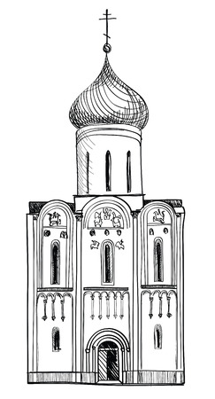 pencil drawn: Old Russian Church  Retro hand drawn illustration  The Golden Ring of Russia