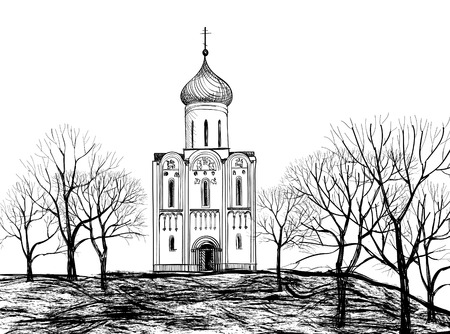 Old Russian Church  Old russian town landscape hand drawn vector illustration  The Golden Ring of Russia   Vector