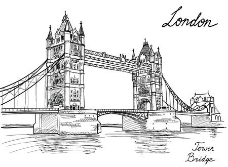 유명한: 타워 브릿지, 런던, 영국, 영국 손으로 그린 그림 일러스트