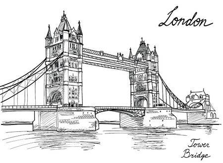 famous place: Tower Bridge, London, England, UK  Hand Drawn Illustration   Illustration