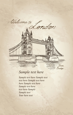 Tower Bridge, London, England, UK, Europe  Vector doodle illustration  Hand drawing  Stock Vector - 22421236