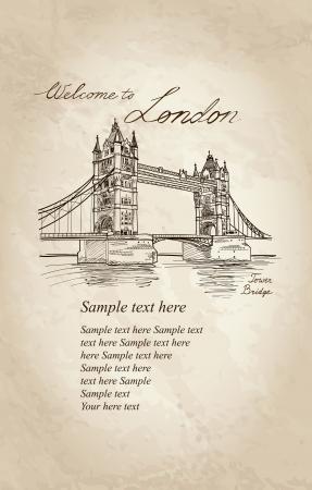 Tower Bridge, London, England, UK, Europe  Vector doodle illustration  Hand drawing Stock Vector - 22421236