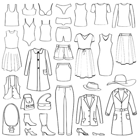 Fashion icons set  Female cloth collection   Vector