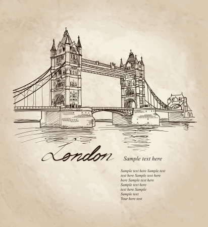 london tower bridge: Tower Bridge, London, England, UK, Europe  Vector doodle illustration  Hand drawing  Illustration
