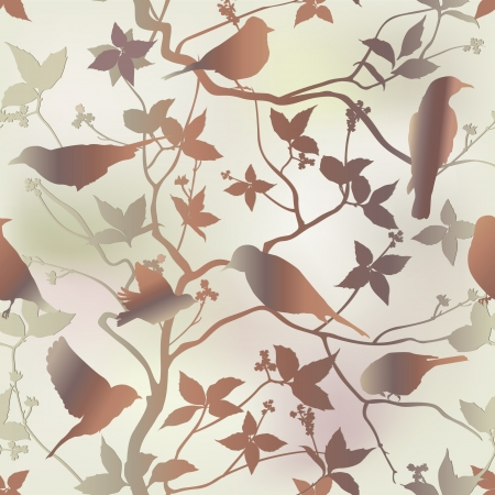 Spring seamless pattern with branch and bird  Floral repeating background in chinese style  Vector illustration   Vector