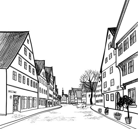 house sketch: Old-fashioned german alleyway in province town  Pedestrian street in the old european city with tower on the background  Historic city street  Hand drawn sketch  Vector illustration