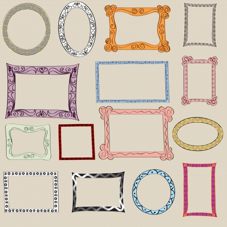 hand drawn frame: Set of cute frame  Victorian ornaments photo frames in vector