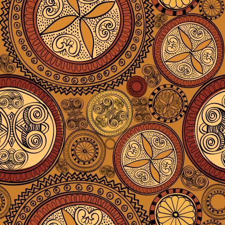 抽象的な民族シームレスな背景円幾何学的パターン花の網かけ書  イラスト・ベクター素材
