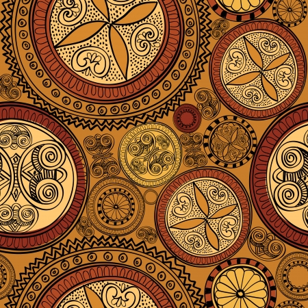 Abstract Ethnic Seamless Background  Circle Geometric Pattern  Floral line texture