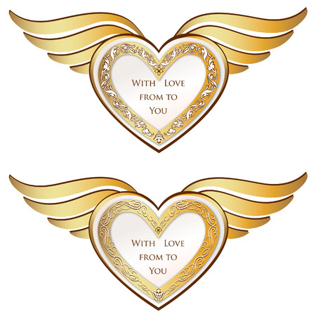 Heart with wings set  Valentine s day love symbols  Stock Vector - 22796589