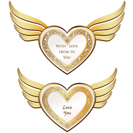 Corazón con alas establecer símbolos de amor día de San Valentín s Foto de archivo - 22796597