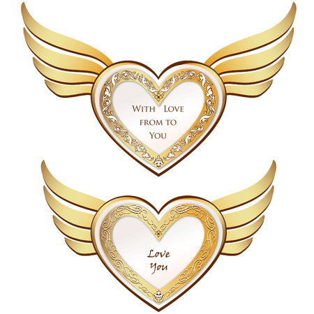 heart with wings: Heart with wings set  Valentine s day love symbols
