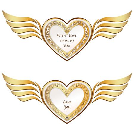 Herz mit Flügeln gesetzt Valentine s Tag Liebe Symbole Standard-Bild - 22796601