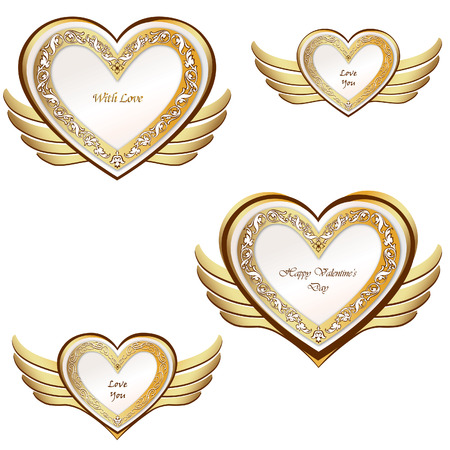 Heart with wings set  Valentine s day love symbols  Vector
