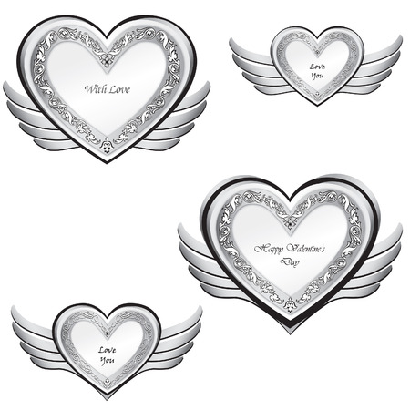 Heart with wings set  Valentine s day love symbols