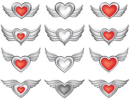 heart wings: Heart with wings set  Valentine s day love symbol vector collection