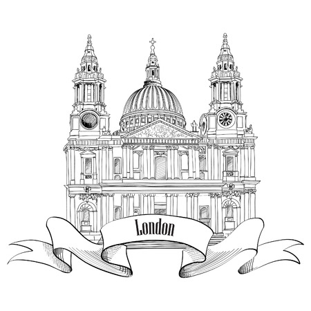 st paul s cathedral: St  Paul Cathedral, London, UK  Hand Drawn Illustration isolated on white background