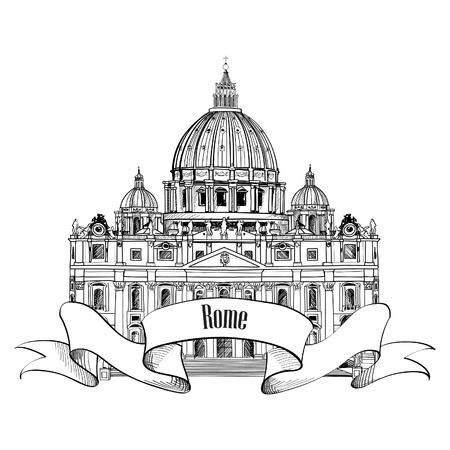 세인트 피터 성당, 로마, 이탈리아의 손으로 그린 벡터 일러스트 레이 션 흰색 배경에 고립
