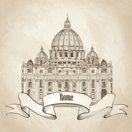 italy landscape: St  Peter s Cathedral, Rome, Italy  Hand drawn vector illustration isolated on old paper background   Saint Pietro Basilica label  Illustration