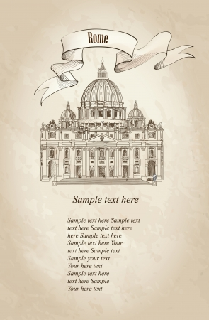 St  Peter s Cathedral, Rome, Italy  Hand drawn vector illustration isolated on old paper background