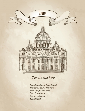 pietro: St  Peter s Cathedral, Rome, Italy  Hand drawn vector illustration isolated on old paper background