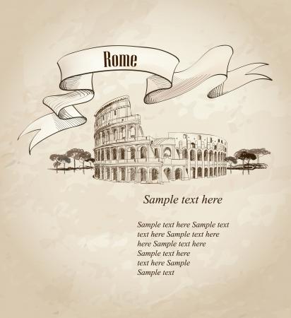 roma antigua: Coliseo en Roma, Italia Se�al de Coliseum, dibujado a mano ilustraci�n vectorial paisaje de la ciudad de Roma Vectores