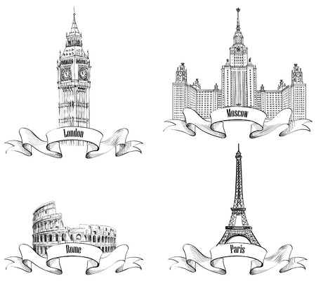 European cities symbols sketch  Paris  Eiffel Tower , London  Big Ben, Westminster Abbey, London , Rome  Colosseum , Moscow  Lomonosov Moscow State University