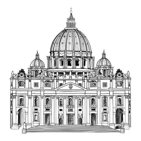 Peter s Catedral St, Roma, Italia dibujado a mano ilustración vectorial aislados en fondo blanco