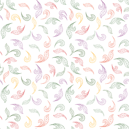 abstract floral pattern  White summer texture with outlined hand drawn leaves  Vector