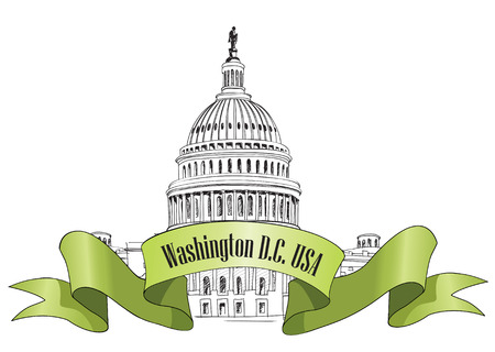 워싱턴 DC 국회 의사당 풍경, USA 손으로 그린 연필 벡터 일러스트 레이 션 스톡 콘텐츠 - 22796836