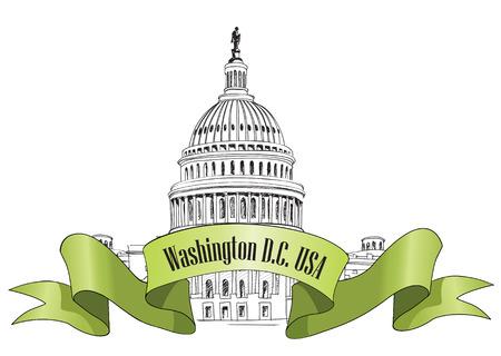 Washington DC Capitol paisaje, EE.UU. Dibujado a mano lápiz Ilustración vectorial