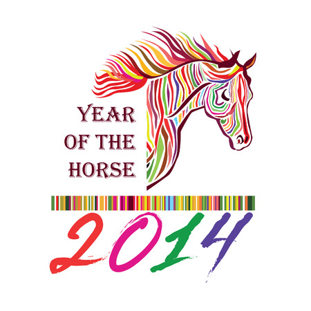 siluette: Horse - Symbol of 2014  Year of the horse siluette label  Happy New Year