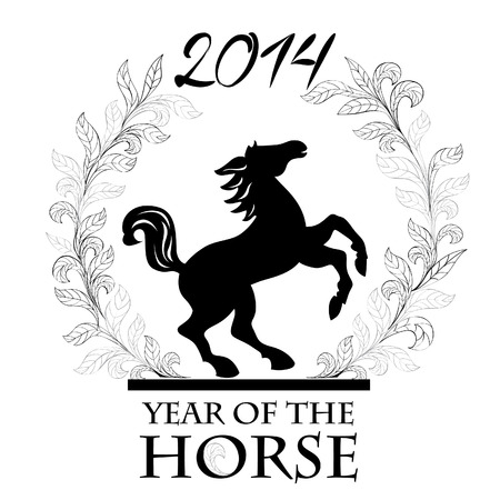Horse - Symbol of 2014  Year of the horse siluette label  Happy New Year   Vector