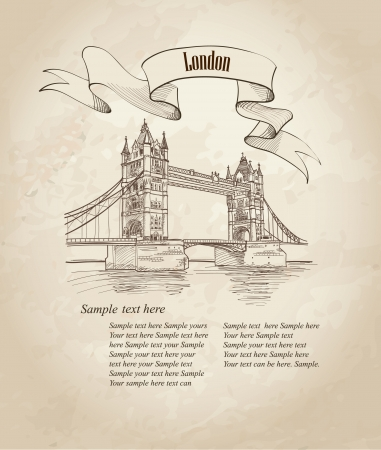 river thames: Vector Tower Bridge, London, England, UK, Europe  Hand drawing old fashion illustration background with copy space   Illustration