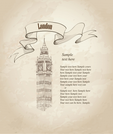 Big Ben, London, England, UK  Hand Drawn Illustration  Vector vintage background   Vector
