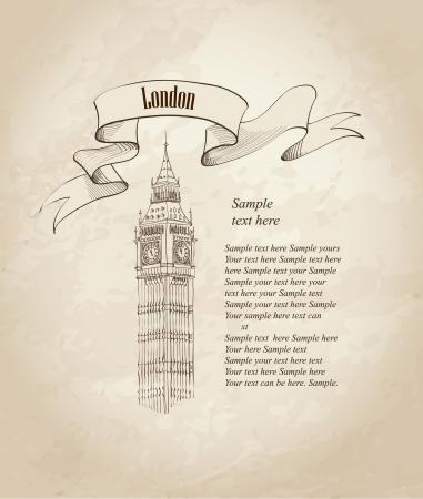 Big Ben, London, England, UK  Hand Drawn Illustration  Vector vintage background Stock Vector - 23320174