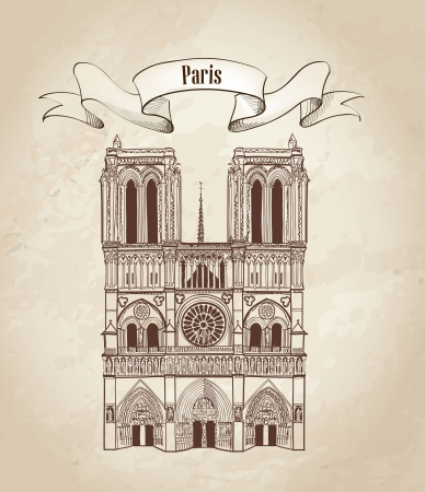 notre: Notre Dame de Paris cathedral, France  Hand drawing vector illustration isolated on white background