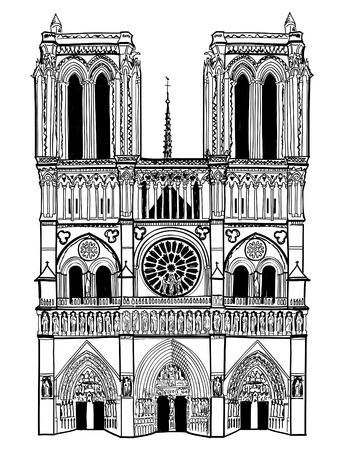 ノートルダム ・ ド ・ パリ大聖堂、フランス手に白い背景で隔離のベクトル図の描画  イラスト・ベクター素材