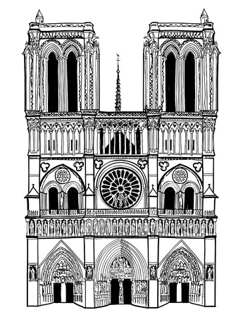 Notre Dame de Paris cathedral, France  Hand drawing vector illustration isolated on white background