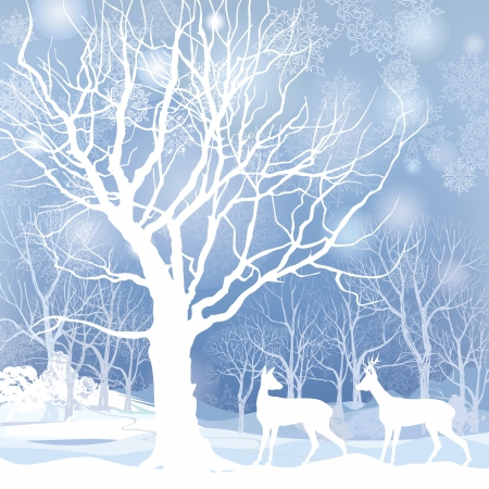 Snow winter forest landscape with two deers  Abstract vector illustration of winter forest