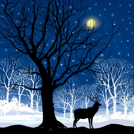 Snow winter landscape with deer  Abstract vector illustration of winter forest   Stock Vector - 23320193
