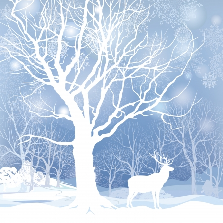 winter landscape: Snow winter landscape with deer  Abstract vector illustration of winter forest