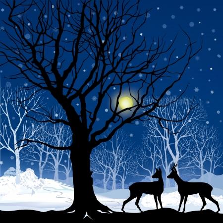 Paysage de neige de la forêt d'hiver avec deux cerfs Résumé illustration vectorielle de la forêt d'hiver