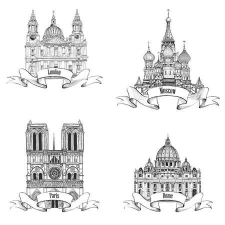 Travel Europe vector set  Famous european landmarks collection  City symbols  Paris  Notre Dame Cathedral , London  St Paul Cathedral , Rome  St  Peter Cathedral , Moscow  St  Basil Cathedral   Illustration