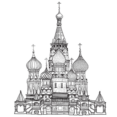 russian church: St  Basil Cathedral, Red Square, Moscow, Russia  Vector illustration isolated on white background