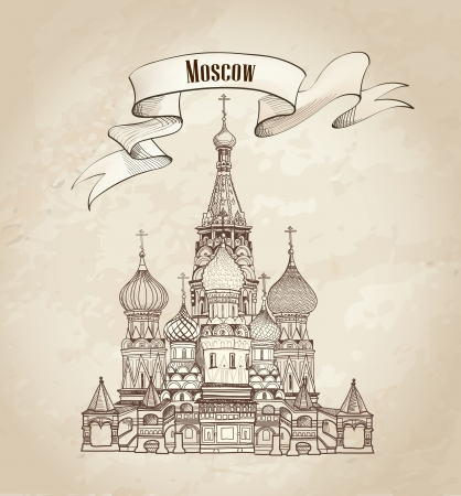red square moscow: Moscow label  St  Basil Cathedral, Red Square, Moscow, Russia  Vector illustration isolated on old paper background