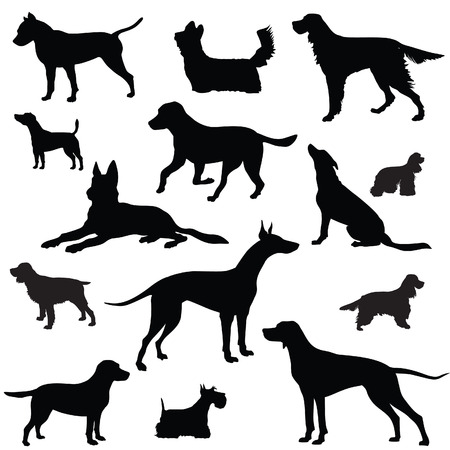 whelps: Dog set  Collection of vector silhouette