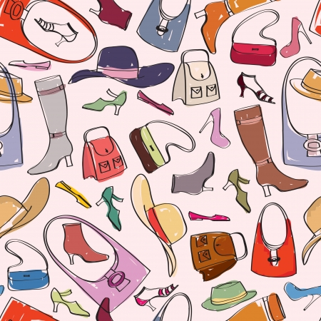 Accessories pattern  Bags and shoes background   Vector